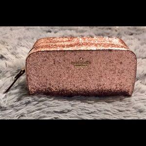 NEW Kate Spade Ezra Pink Glitter Cosmetic Bag